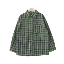 New fresh green plaid long loose long-sleeved lapel shirt women Green F