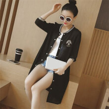 Women Loose Long Cardigan Summer Fashion Floral Printed Sunscreen Clothing black L