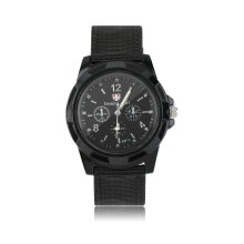 [LESHP]Unisex Men Women Luminous Quartz Wrist Watch Canvas Belt Army Sport Style Black