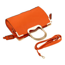 [LESHP]Stylish Women Girl Faux Leather Zipper Tote Shoulder Messenger Bag orange