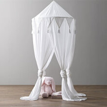 [OUTAD] Chiffon Baby Room Decoration Lace Mosquito Net Kids Bed Curtain Canopy Round White
