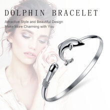 [COZIME] Lady Europe Style Jewelry Solid Silver Plated Dolphin Closure Bangle Bracelet Silver