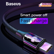 Baseus Intelligent Power Off USB Type C Cable QC 3.0 Quick Charge For Samsung Note 9 S9 S8 Plus Oneplus 6 USB C Charger Cable