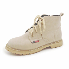 Zanzea 0051Women Non Slip Casual Lace Up Flat Ankle Short Boots Beige