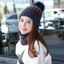 SiYing fashion ladies autumn and winter stripes warm neck sweater knit hat