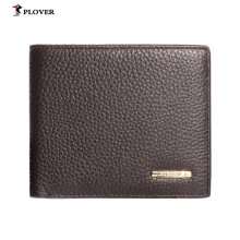 [LESHP]PLOVER GD5892-6BX Solid Color Business Soft Cow Leather Man Short Wallet Brown Brown
