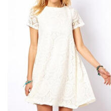 Fashion Women Sexy Plus size Solid Short Sleeve O-Neck Lace Hollow out Dress_White_XL