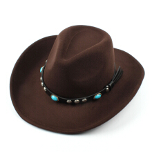 Zanzea 0051 Mens Women Vintage Woolen Western Cowboy Hat Wide Brim Cowgirl Jazz Cap Horse Riding Hat Black