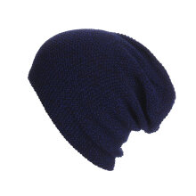 LZ107 Winter Elastic Knitting Hat Beanie Skull Cap Warm Soft Sport Skiing Cap navy blue LZ107