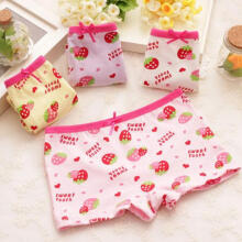 Farfi Colorful Strawberry Shorts Elastic Bowknot Sweet Tooth Underwear Girl Boxers