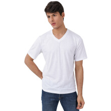 FACTORY OUTLET UG1802-0011 Mens T-Shirt V Neck Short Sleeve - White