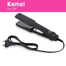 KM-329 Professional Hair Straightener Tourmaline Ceramic Heating Plate Styling Tools EU Plug Black