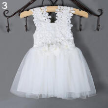 Farfi Baby Kids Princess Girl Wedding Party Solid Color Lace Flowers Clothes Dress