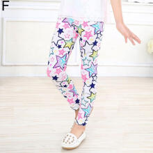Farfi Baby Girl Kid Flower Floral Star Print Elastic Trousers Leggings Pants 2 14 Year
