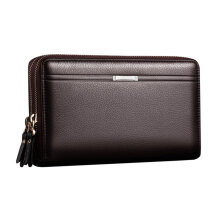 TOWER PRO Men Clutch Bag Long Purse Leather Wallet Lichee Handbag Double Zippers Black