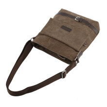 [COZIME] Men Canvas Messenger Bags Multifunction Shoulder Bags Vintage Crossbody Bag Brown1