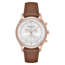 Emporio Armani Classic AR11043 Chronograph Silver Dial Brown Leather Strap [AR11043]