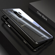 Jantens For Samsung Galaxy S8+ 2 in 1 Magnetic Adsorption case Clear Tempered Glass+Built-in Magnet Metal Cover
