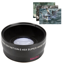 58mm 0.45X Super Wide Angle Macro Lens for Canon EOS 500D Rebel T1i T2i  - Black