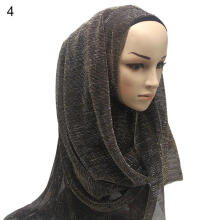 Farfi Golden Thread Wrinkled Women's Muslim Scarf Hijab Head Wrap Headscarf