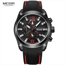 Casual Male Watch Megir Fashion Mens Watches Chronograph Analog Quartz Watch with Date Luminous Hands Waterproof Rubber Strap Sport Wristswatch