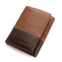 BestieLady Two-Color Tone Genuine Leather Wallet Brown