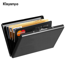 Klsyanyo Black Stainless Steel Metal Case Box Men Women Business Credit Card Holder Black