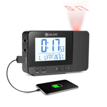 Digoo DG-C10 LCD Rechargeable Soft Backlight Projection Clock Temperature Humidity Display Desk Cloc