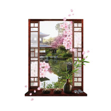 [kingstore] 3D Wall Stickers Environmental Removable Art Decals with Peach Blossom Pattern Multicolor   SIMR068