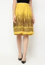 Mobile Power Ladies H-line Midi Skirt Flower Printing - Yellow J8382 Yellow All Size