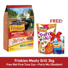 Friskies Meaty Grill 3kg [Free Wet Pure Tuna Can + Party Mix]