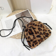 YOOHUI Vintage Leopard Print Bag Joker One Shoulder Drawstring Crossbody Bag Brown