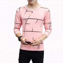 ATA FUN TH New men's fashion round neck striped wild short-sleeved cotton T-shirt shirts men white l cotton Pink XXL