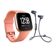 FITBIT Versa Smartwatch Peach Rose Gold + FITBIT Flyer Headphones Nightfall Blue