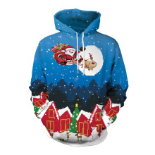 Anamode 3D Printed Father Christmas Gifts Elk Sweatshirt Warm Hooded Casual Jumper Shirt -