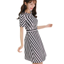 Yu Mu Fashion wild slim striped dress