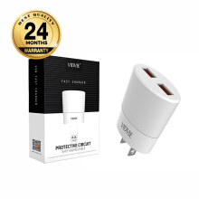 VIDVIE 2 USB Port Charger PLM308 (USB Cable Included-Micro) - White