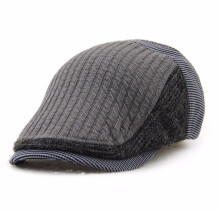 Zanzea 0051Unisex Knitted Woolen Beret Hat Knitting Buckle Paper Boy Cabbie Gentleman Visor Cap For Men Women  Dark Blue