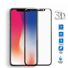 KENESS iPhone X 3D Round Curved Edge Tempered Glass Full Cover Protective Screen Protector Film Hitam