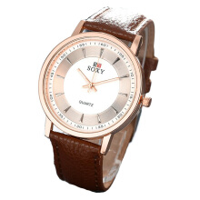 BANGLONG Lovers Quartz Hand Watch With Leather Strap -Onesize -Gold