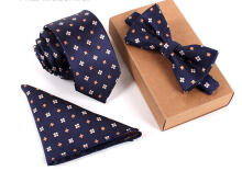 Zanzea Men Business Vintage Tie Sets Neck Tie Bow Tie Pocket Square Towel For Wedding Meeting And Party #0