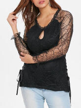 WEDO Halloween Plus Size Keyhole Floral Lace T-shirt Round Neck Lace Fall Spring Black L