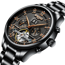 KINYUED JYD-J012 Working Sub-dials Automatic Mechanical Watch Stainless Steel Strap Men Wrist Watch BLACK