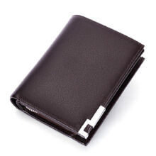 L'ALPINA 681052001 Men's leather Cowhide two fold horizontal section leather card holder wallet multi-function wallet-Coffee