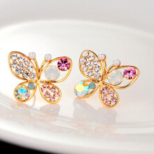 Farfi Women Fashion Chic Lovely Rhinestone Hollow Butterfly Ear Stud Earrings Jewelry