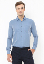 Johnwin - Slim Fit - Kemeja Formal - Motif Corak Garis - Biru
