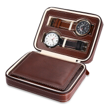 4 Grids PU Leather Travel Watch Storage Case Zipper Wristwatch Box Organizer