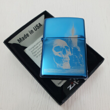 Zippo 29704 Skull and Candle Sapphire Blue Finish - Blue
