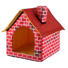 [OUTAD] Portable Brick Pet House With Chimney Warm And Cozy Dog Cat Bed Tent red