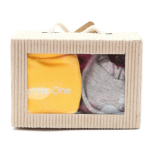 Cribcot Gift Set Booties Plain Misty Light Grey & Mitten Little One Yellow Light Grey